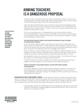 Arming Teachers Is a Dangerous Proposal