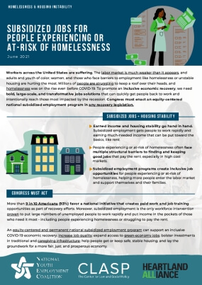 Subsidized Jobs for People Experiencing or At-Risk of Homelessness
