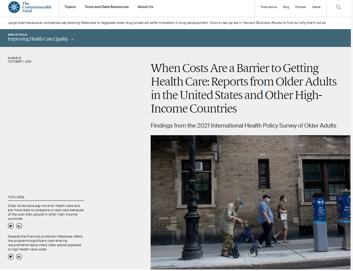When Costs Are a Barrier to Getting Health Care: Reports from Older Adults in the United States and Other High-Income Countries: Findings from the 2021 International Health Policy Survey of Older Adults